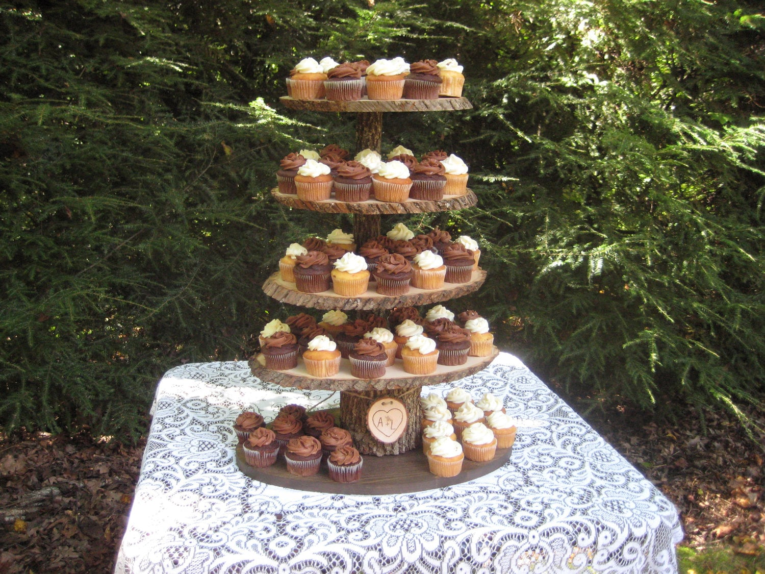 rustic cupcake stand wedding wood dessert bar 5 tier x large