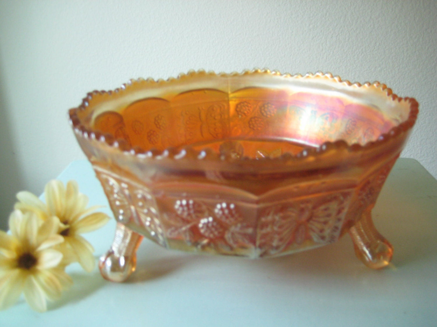 Rare Fenton Carnival Glass Butterfly And Berry Pattern