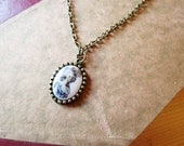 Small Marie Antoinette Milk Glass Cabochon Necklace Pendant Handmade Jewelry