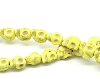 SALE 40 Skull Beads Howlite Carved Strand - Yellow -  10x8mm - Ships IMMEDIATELY from California - B711