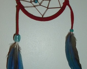 Red Macaw Feather Dream Catcher