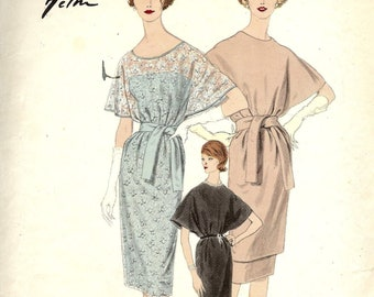 Vogue 1493 One piece dress high or scoop neck and slip with slim skirt Size 14 Jacques Heim Vogue Paris Original with label sewing pattern