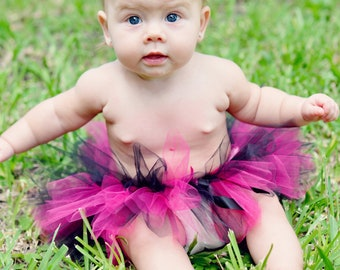 Girls Tutu, Pink and Black Little Rock Star Tutu for Infants, Toddlers, Girls and Adults