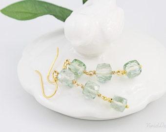 Green Amethyst Long Earrings, Cube Gemstone Earrings, Bridesmaids Gifts