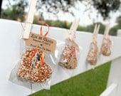 50 bird seed hearts in eco-friendly cello - personalized, birdseed wedding favor, love birds