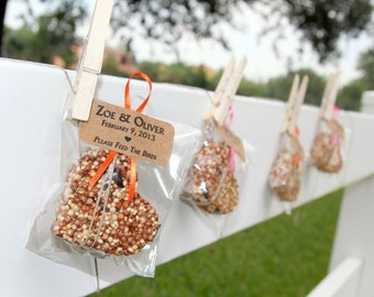 150 bird seed hearts in eco-friendly cello - personalized, birdseed wedding favor, love birds, wedding favors