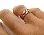 Rose Gold Colored Stacking Rings - 5 Dot & Hammer Textured Rings - Copper - Everyday Ring - Simple Ring Set Gift For Her Under 50
