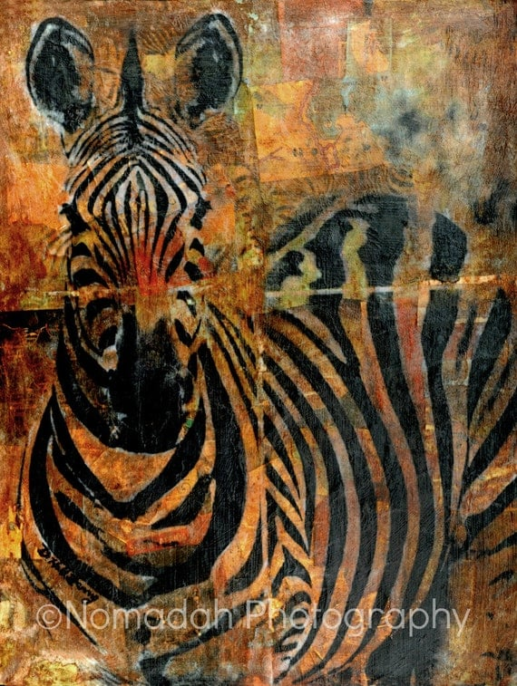 Items similar to african decor zebra collage print wall for African mural painting