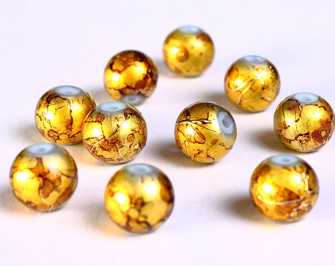 8mm Drawbench brown gold yellow beads - 8mm round glass bead - 8mm spray painted beads (833) - Flat rate shipping