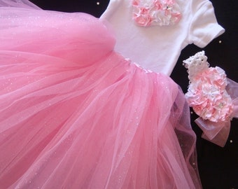 NEWBORN Baby Girl Take Home Outfit Pink Tutu Set, Smash Cake Birthday Outfit, Unique One of a kind Baby Girl Shower Gift Set