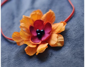 RTS tangerine and red flower headband with a pearl center on skinny elastic, great photo prop or daily use
