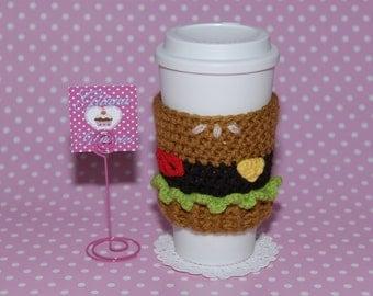 Burger Coffee Cozy -Crochet Coffee Cozy- Coffee Cozy