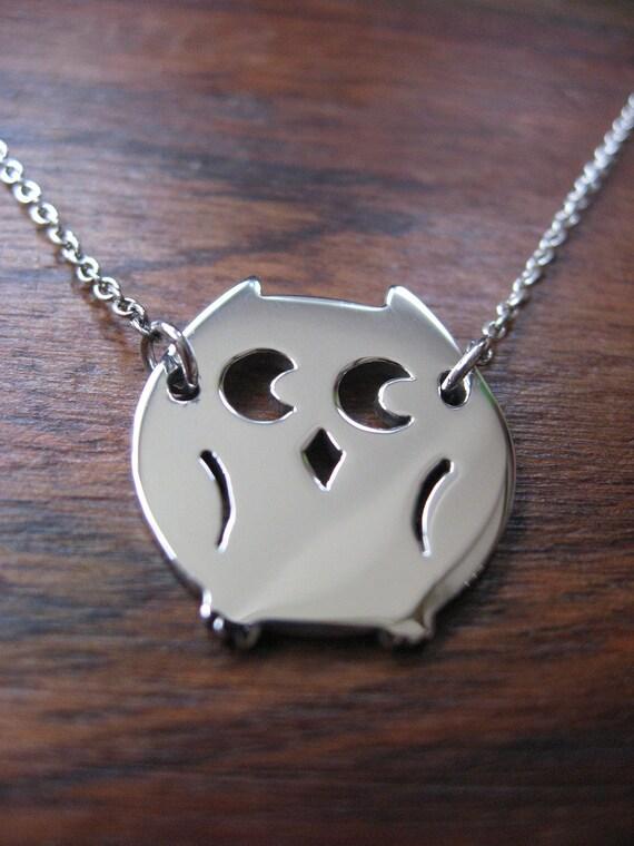 Owl Pendant Necklace Argentium Silver
