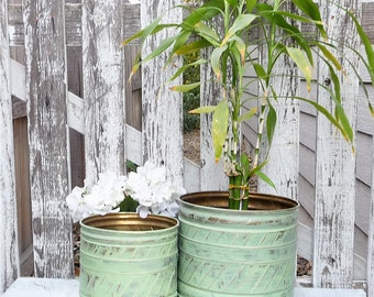 Painted SHABBY CHIC Brass Planters, Set of 2