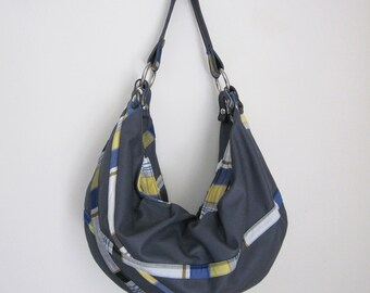 Nautical Summer Leather & Plaid Hobo