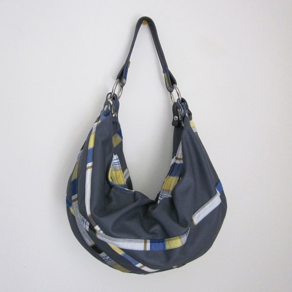 RESERVED: Nautical Summer Leather & Plaid Hobo