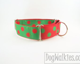 "Big Elf Dots Christmas Dog Collar - 1.5"" (38mm) Wide - Red and Green - Choice of style and size - Martingale Dog Collars or Quick Release"
