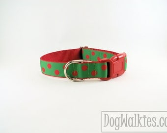 "Red Elf Dots Christmas Dog Collar - 1"" (25mm) Wide - Choice of collar style and size - Martingale Dog Collars or Quick Release Buckle"