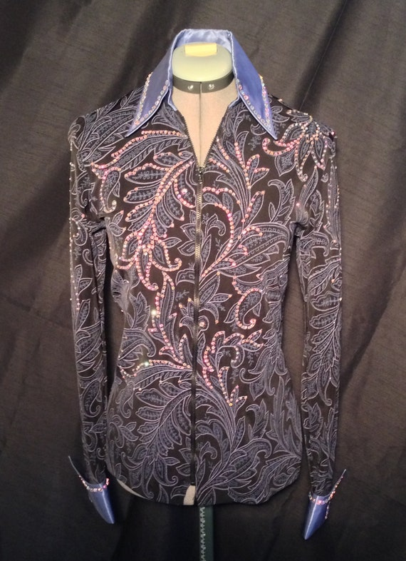 Rail Shirt with over 1,500 Swarovski AB crystals, extra long sleeves
