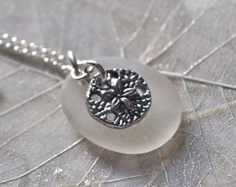 white frosted Maine Atlantic sea glass necklace, mermaids tears necklace, white Maine Sea glass necklace, Beachcombers gift, Atlantic Sea