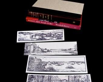 BOOKMARKS: set of 4  rural scenes, countryside, agricultural,  reader / bookworm