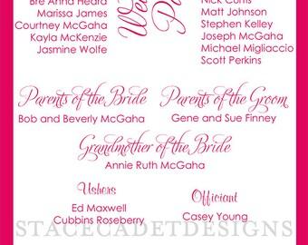 Custom Printable Double Sided Wedding Programs Digital Files