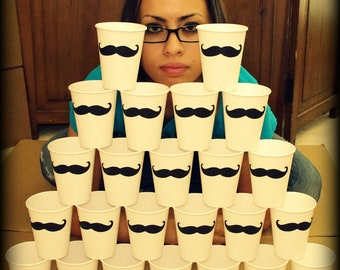 24 Mustache Paper Party Cups-Mustache Cups-Little Man Party-Mustache Party-Party Cups-Baby Shower-Gender RevealThe Handlebar-white cups-