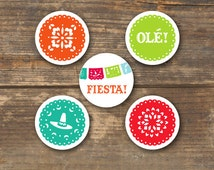 Fiesta Cupcake Toppers  or Tags Printable