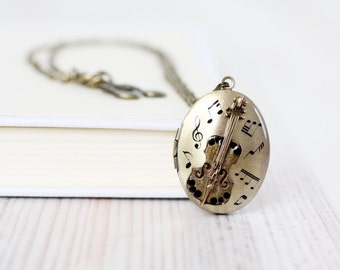 Violin Oval locket necklace - Antique Bronze Photo Art Locket  - Sheet music jewelry