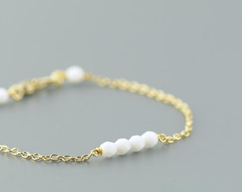 Beaded Bracelet in White. Layering Bracelet. Stackable Bracelet. Friendship Bracelet. Simple. Minimal. Everyday Jewelry