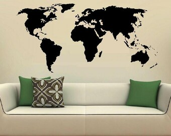 World map wall decal map decal living room decal home decor vinyl decal libary decal map decor world decor kid room decal class room decor