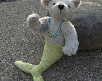 Merbear - Nellie, fantasy mermaid bear, miniature artist bear