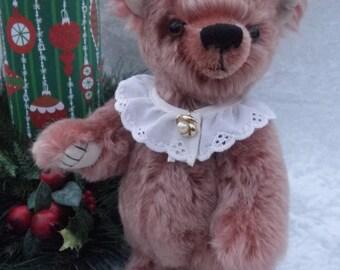 Matilda - dusty rose mohair bear