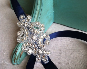 Navy Blue and Rhinestone Ribbon Headband