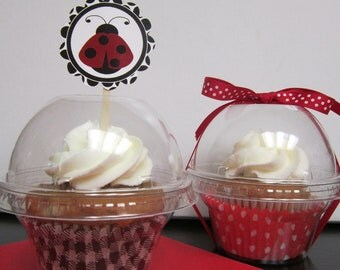 12 Plastic Cupcake Cookie Candy Container