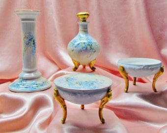 1920's Limoges dresser set, 3 pieces of hand painted porcelain with forget me nots
