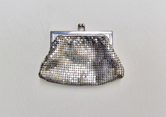 Vintage silver mesh change purse, Whiting and Davis