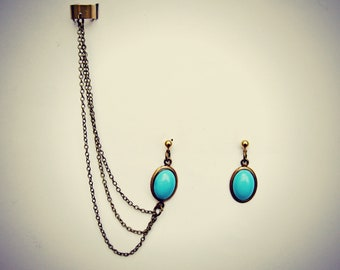 ear cuff turquoise earrings, ear cuff with chains, chain earrings, dangle earrings, turquoise earrings, long chains ear cuff