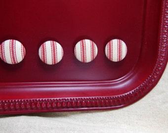 Red Fabric Ticking Magnet Set / Red Magnet Set / Red Stripe Magnet / Set of 4