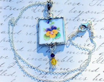 Necklace, Broken China Jewelry, Broken China Necklace, Yellow and Purple Pansy China, Sterling Silver, Soldered Jewelry