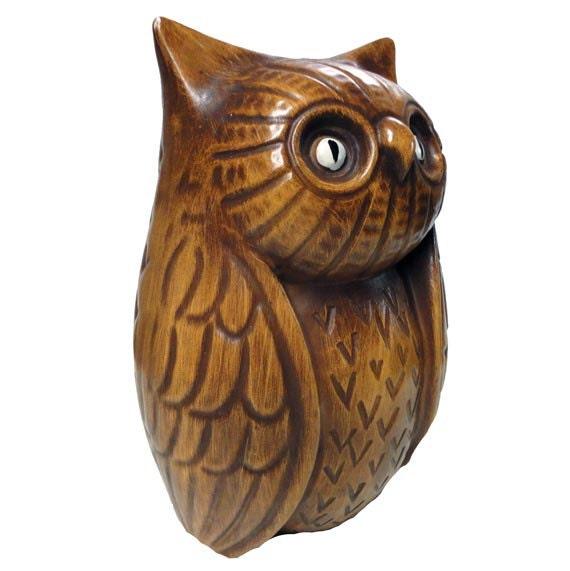 Vintage Owl Bank - Ceramic Figurine, 1960s 1970s Vintage California Coin Bank