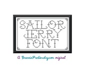 PDF PATTERN ONLY - Tattoo Alphabet - Sailor Jerry font - counted cross stitch sampler
