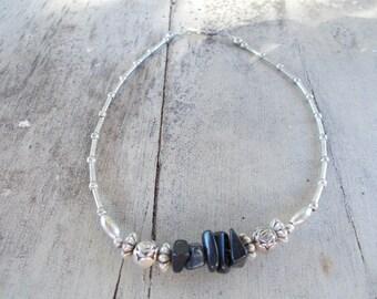 Beach rock polished Silvertone Ankle Bracelet
