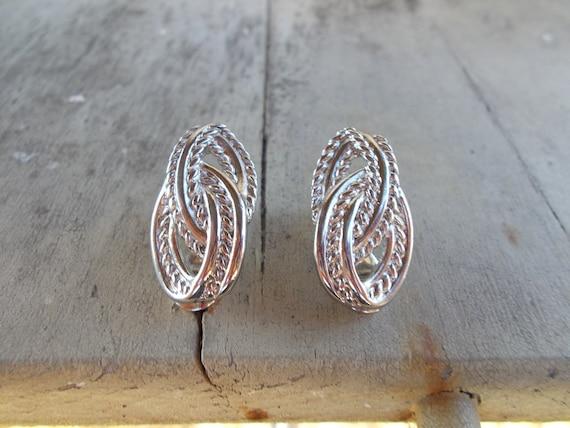 Silver Tone Monet Earrings