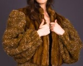 SALE 50% OFF 80s Vintage Red Mink Coat with Knit Sleeves
