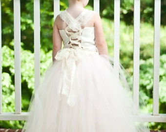Flower Girl Tutu Dress Shabby Chic Tutu Dress Blush Pink and Ivory Lace Satin Corset and Satin Flower Hair Clip 6 months-9/10 CUSTOMIZABLE