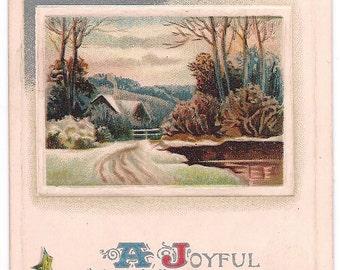 Ca. 1910's Christmas Greetings Postcard w/ Winter Scene - 696