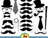 Mustache Party Digital Clipart Set -Personal and Commercial Use-paper crafts,card making,scrapbooking,web design