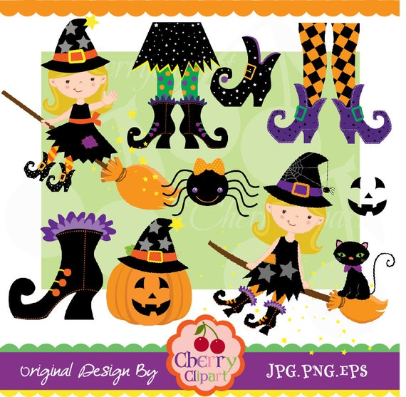 halloween cute witches and witch feet digital clipart set personal and commercial use paper craftscard makingscrapbookingweb design - Cute Halloween Witches