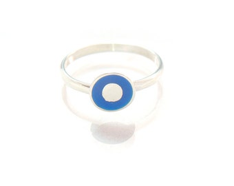 Simply Adorable Small Silver Ring - Simple Ring -Custom Color - Tiny Ring Petite Ring Cute Ring  Little Ring - 100% recycled sterling silver